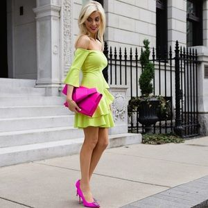 Dresses & Skirts - Neon Yellow Off The Shoulder Dress